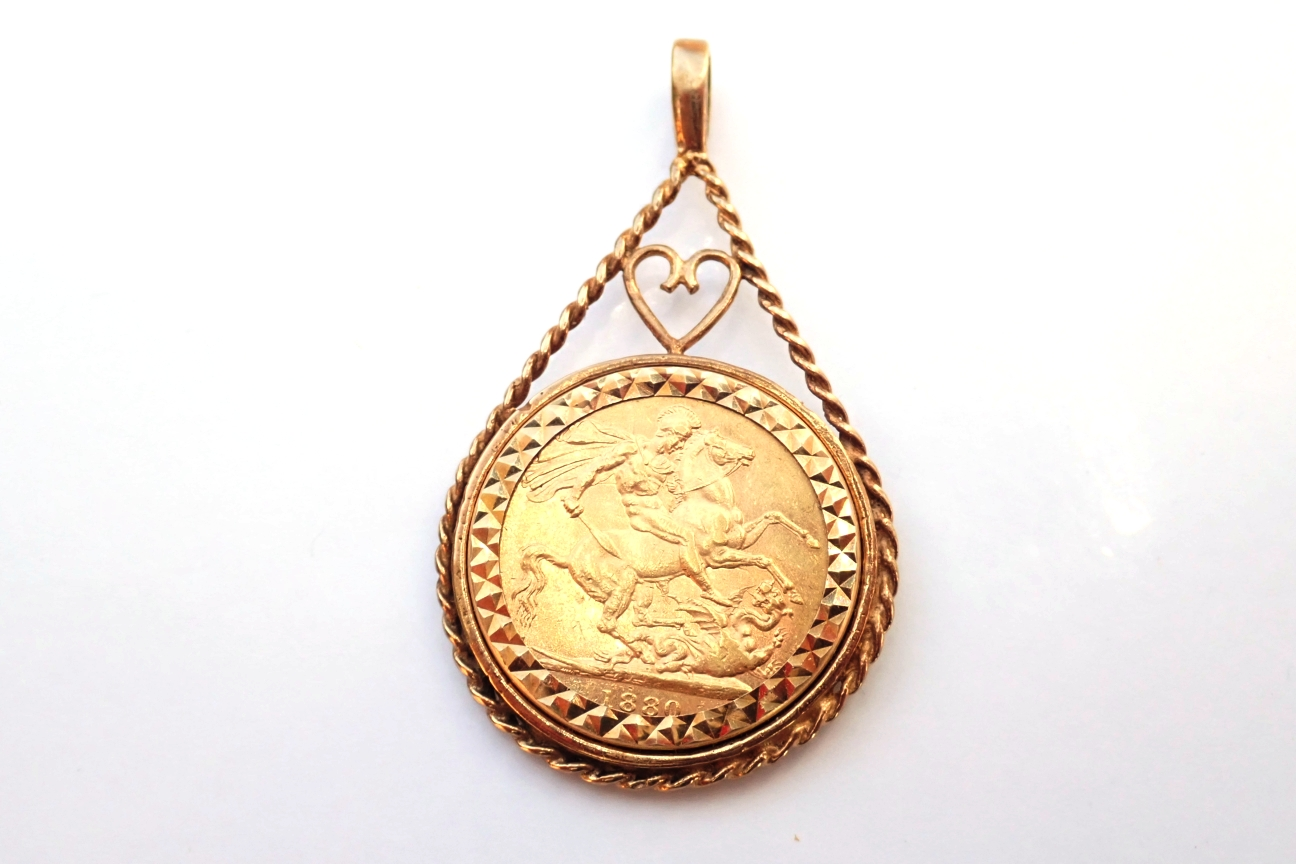 Young Victoria1880 22k Full Sovereign 9carat Gold Heart Rope Mount 11.64grams