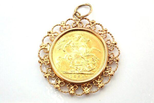 Victoria 1894 22k Full Sovereign 9carat Gold Rope Pendant