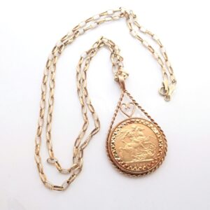 Young Victoria Full Sovereign 1880 Gold Heart Rope Pendant