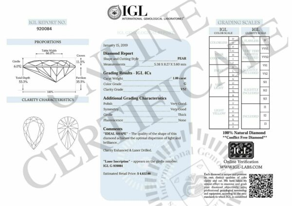 Certified Diamond 1.00 Carat G VS2 Pear Natural Loose 5.38×8.27mm 2VG #566
