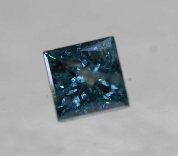 0.56 Carat Fancy Vivid Blue Princess Cut Natural Diamond 4.02 CertifIed #75