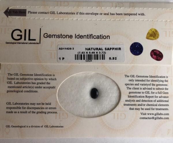 Amazing!! 0.92 Carat GIL Certified Greenish Blue Sapphire VVS2  #17