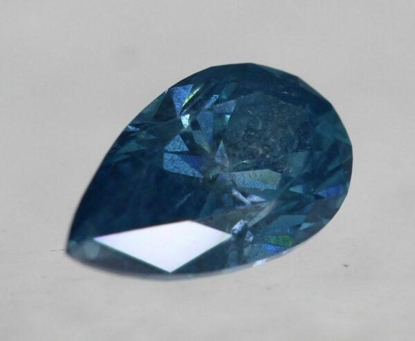 Cert 0.42 Carat Fancy Sky Blue SI1 Pear Natural Diamond 3.94X6.49mm 2VG #84