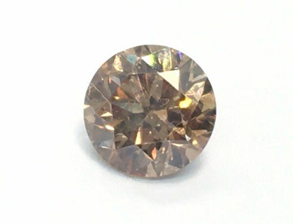 CertIfied 0.64 Ct Vivid Brown VS1 Round Natural Diamond 5.29mm Video#00
